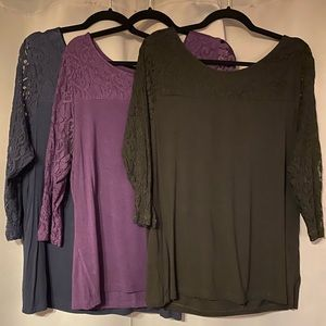 3-Lane Bryant 3/4 Sleeve Lace Scoop Neck Top 14/16